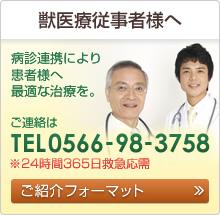 獣医療従事者様へ 病診連携により 患者様へ 最適な治療を。 ご連絡は0566-98-3758 ご紹介フォーマット